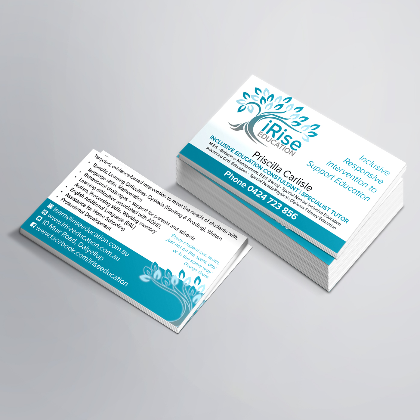 iRise Education Business Cards