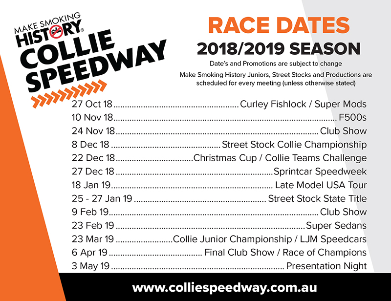Collie Speedway | Race Date Magnets