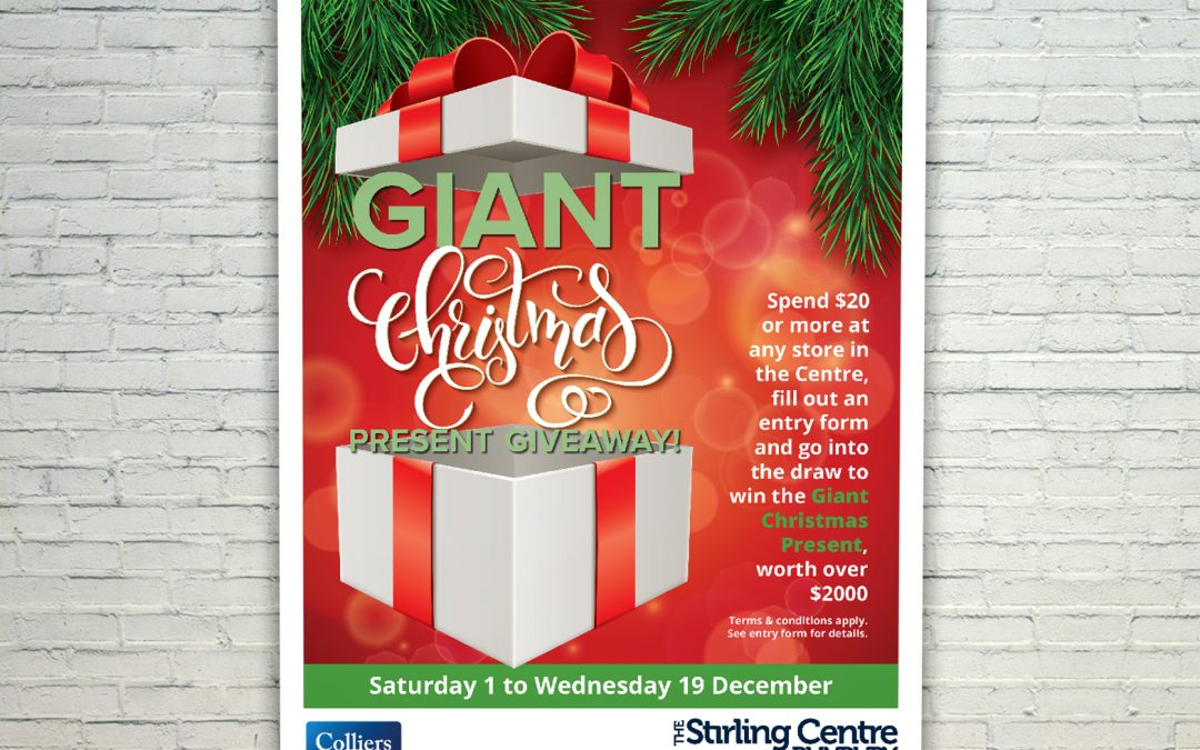 Giant Christmas Present Giveaway Mall Card